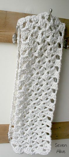 Chunky Crochet Lacy Scarf.