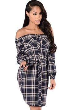 $15.22 Buy Cheap Black Button Down Off Shoulder Plaid Shirt Dresses at Online Shop http://en.modebuy.com @modebuyshop #modebuyshop @modebuy #modebuy #White #Black  #pretty #so #love #cool #beautiful