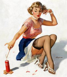 She's a real fire cracker! ~ 4th of July pin-up by Gil Elvgren, ca. 1950s.