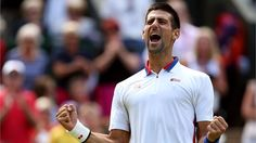 Novak Djokovic of Serbia celebrates after defeating Jo-Wilfried Tsonga of France in the quarter-final of men's singles Tennis on Day 6 of the London 2012 Olympic Games at Wimbledon