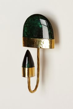 GORGEOUS green stone (resin) and brass wall hook.