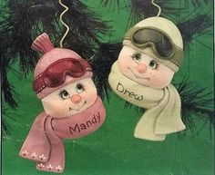 Christmas-Ceramic-Bisque-Ready-To-Paint-Donas-Teenage-Sno-Kin-Ornaments