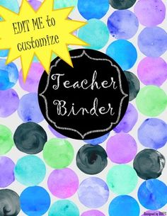 My first, best and most requested seller so far. Handprinted (digitally) blue and purple polka dot binder covers set! Teacher Binder Organization, Teacher Binder Covers, Chalkboard Text, Sub Binder, Student Data, The Duff, Sign I, My Teacher, Watercolour