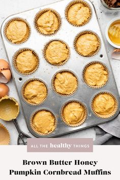 Brown butter honey pumpkin cornbread muffins made with delicious toasty brown butter, pure pumpkin, plenty of spices, and of course pure pumpkin. These muffins have the best flavor and are perfect alongside a hearty bowl of chili or your next holiday meal.