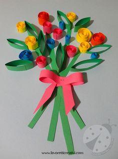 Questo di oggi è un lavoretto semplice per la festa della mamma: un bouquet di fiori colorati realizzato con striscioline di carta arrotolate.