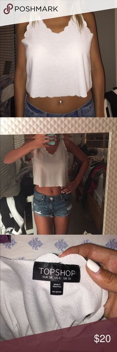 Topshop White Scalloped Crop Tank Top Lightly used, white scalloped tank top from topshot Topshop Tops Crop Tops