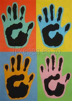 ANDY WARHOL Persoonlijke manier om een popart werk te brengen. Kinderen drukken hun eigen hand met behulp van zwarte verf op gekleurd papier en maken er een verzameling van.