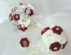 Brooch Bouquet Cameo Burlap and Lace Red and Ivory by Deecreated4U, $275.00