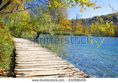 Walkway in paradise of Plitvice lakes national park, Croatia - stock photo
