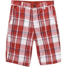 Faded Glory Men's Flat Front Plaid Twill Short, Size: 30, Red