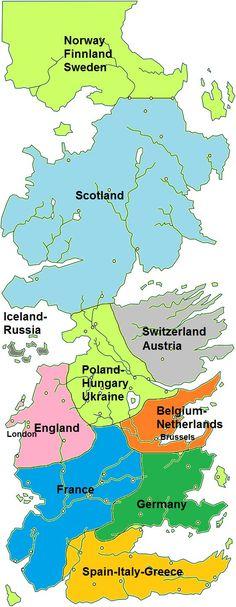 Gli Arcani Supremi (Vox clamantis in deserto - Gothian): Se Westeros fosse l'Europa: mappa