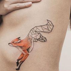 fox, geometric, tattoo, tattoos