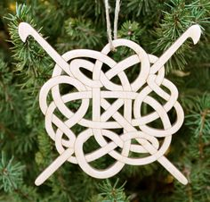 Ready to Ship Celtic Wood Ornament with Crochet by iTagStudios