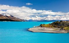 New Zealand Beaches | Mt. Cook New Zealand, beach, coast, crystal blue water, forest, lake ...