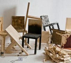 It may not be enough to say these simple and innocent-looking wooden chairs have been tortured ... they have been battered, beaten, hammered, hung, smeared, spattered, shot, tarred and feathered, chained to the ground, burned at the stake and have even gone missing entirely. The survivors featur ...