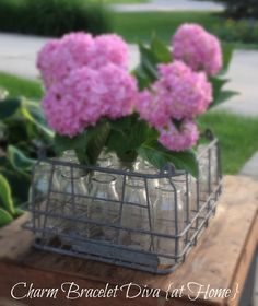 Charm Bracelet Diva {at Home}: Displaying Hydrangeas in Vintage Milk Bottles with Wire Crate