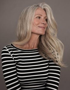 The beautiful Pia Gronning Long gray hair