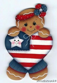 Patriotic Heart Gingerbread Painting E-Pattern Gingerbread Ornaments, Gingerbread Decorations, Gingerbread Man, Christmas Ornaments, Tole Painting Patterns, Pintura Country, Country Paintings, Fourth Of July, Holiday Crafts