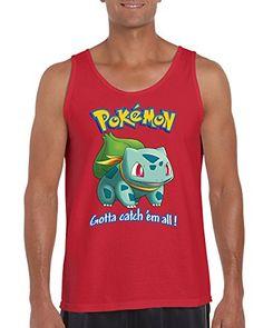 a3d0db7216d708 Pokemon Bulbasaur Gotta Catch  em All! Popular Men s Tank Top Shirt for  Men(Red