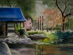 Descanso Gardens Japanese Teahouse  22 x 30 watercolor on Arches paper