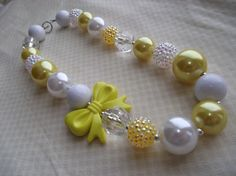 Yellow and white chunky gumball necklace