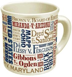 Supreme Court Cases Mug.  Hot liquid makes the losers disappear!
