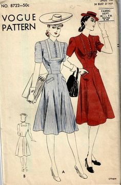 "1940s- Vogue 8722 - Vintage One- Piece Dress Pattern - 34"" Bust - Unused sld 11.09+4 2bds 2/27/15"