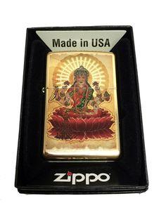Zippo Custom Lighter - Indian Goddess Lakshmi - Regular High Polished Brass 254BCI401843