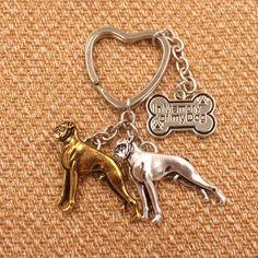 Boxer Dog Pendant Keychain