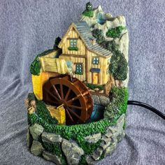 Old Fashioned Water Wheel Fountain Mountain Home Decor   eBay