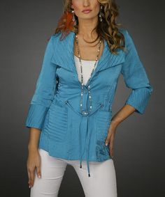 Look what I found on #zulily! Turquoise Tie-Waist Jacket - Women & Plus by Jerry T Fashion #zulilyfinds