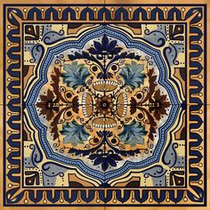This is a ceramic tile mural, made with four 6 tiles. Its size is 12 square. Its a lovely design in tans and blues. It is fired and totally water proof,