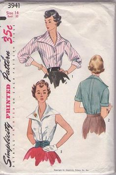 MOMSPatterns Vintage Sewing Patterns - Simplicity 3941 Vintage 50's Sewing Pattern UNUSUAL HUGE Wide Pointed Wing Colalr Lucy Mad Men Party ...