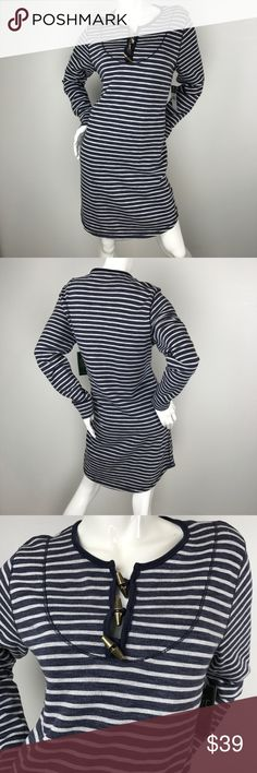 Lauren Ralph Lauren Striped Sheath Dress Lauren Ralph Lauren Long Sleeve Striped Cotton Sheath Dress. Cute causal dress. Features loop and toggle closures at neckline and curved hem. 79% cotton and 21% polyester. Lauren Ralph Lauren Dresses Midi