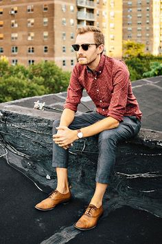 Cropped pant with button down and dress shoes