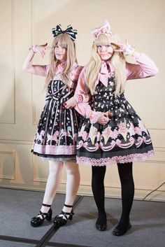 Sweet/Bittersweet Lolita Friends I love how the one on the left is wearing Sugary Carnival by AP(might be a replica though I cant tell) and the one on the right is wearing Bodyline's Softcream and they both look great.