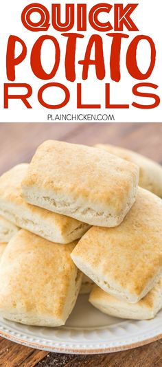 Quick Potato Rolls – ready in 15 minutes! Mix, press, cut and bake. Perfect for breakfast, lunch or dinner! Instant mashed potato flakes,… - New Site Bisquick Recipes, Easy Bread Recipes, Sourdough Recipes, Simple Recipes, Quick Bread, Muffin Recipes, Healthy Recipes, Instant Mashed Potatoes, Mashed Potato Recipes
