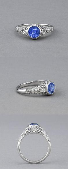 Camelot Blue Sapphire and Diamond Kensington Ring F6722