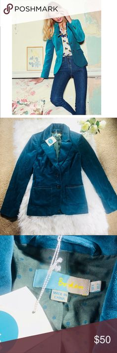 Boden Annabel Velvet Blazer Jacket Beautiful blue Boden Velvet Blazer. Size 2. Boden tag still attached - never worn! First picture is stock photo and not actual product! See picture for material tag. Bundle to save! :) Boden Jackets & Coats Blazers