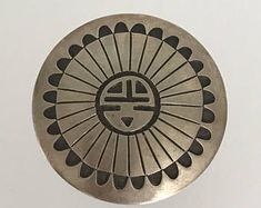 """Vintage Native American Navajo Stanley Gene Sterling Silver Overlay Sunface Pin / Pendant / Brooch . 1.75"""" diam. 16.9g.  Hopi Jewelry ."""