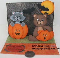 pumpkin patch cat and bear  punch art - bjl