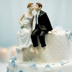 Whimsical Sitting Bride and Groom Cake Topper Caucasian