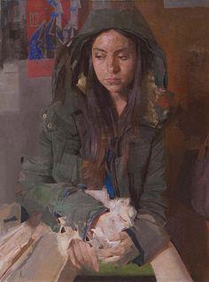 Nicolas Uribe {figurative #surreal art female seated hooded woman cropped painting} nicolasuribeart.com