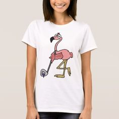 Funny Pink Flamingo Golfing Art T-Shirt - tap to personalize and get yours