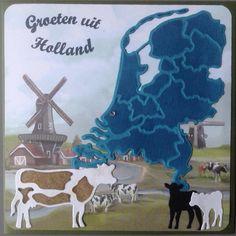 Groeten uit Holland met koeien en mooi design papier van Amy Design Oud Hollands Marianne Design, Holland, Moose Art, Live, Cards, Handmade, The Nederlands, Hand Made, Craft