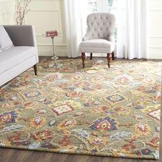 Safavieh Handmade Blossom Green / Multicolored Wool Rug (6' Square)