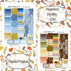 November Monthly Kits! | Free Printable Planner Stickers