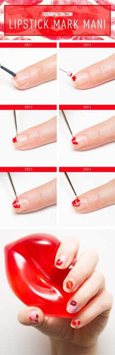 EASY LIPSTICK NAIL ART TUTORIAL: This easy and chic Valentine's Day nail art how-to is the perfect way to celebrate the romantic holiday. Here, nail guru Holly Falcone shows you how to execute these surprisingly easy and pretty pouts. Click through for the full tutorial and expert manicure tips.