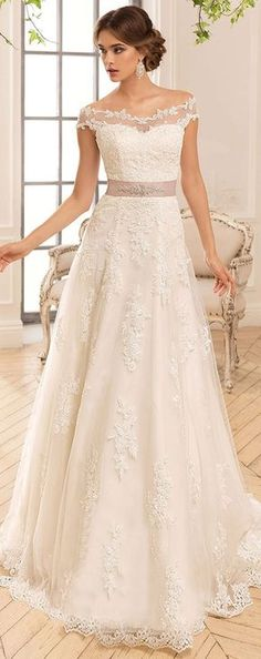 Allure Tulle & Satin Off-the-shoulder Neckline A-Line Wedding Dresses With Lace Appliques