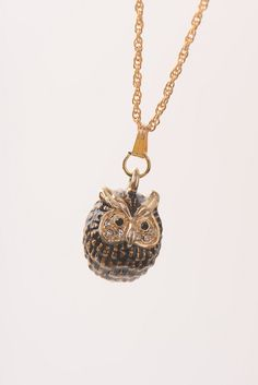 Owl Charm Fabrege Egg Styled Pendant Necklace Faberge Styled Handmade by Keren Kopal Enamel Painted Decorated with Swarovski Crystals